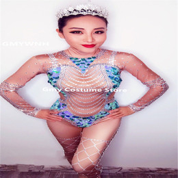 01ee888a0 D62 Female ballroom dance sequin bodysuit crystal jumpsuit sexy Rhinestone  printing outfits nude stage costumes bar wears show catwalk dress