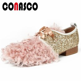 women cloth fashion NZ - CONASCO Fashion Sexy Women Low Heels Pumps Sequined Cloth Party Wedding Shoes Woman Lace Up Night Club Dancing Shoes Pumps