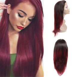 Dark Roots Hair Australia - Ombre 1BT99J Full Lace Wig Brazilian Virgin Hair Silky Straight Lace Front Human Hair Wig Red With Dark Roots For Women