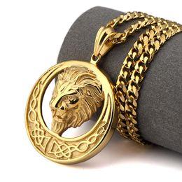14k Gold Lion Head Pendant Australia - Lion Head Necklace Titanium steel hip hop jewelry Three colors Europe and America Hot Sale New