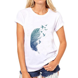 $enCountryForm.capitalKeyWord NZ - Feather t shirt Bird plumage note short sleeve tops Nice print fadeless tees Man woman white colorfast clothing Pure color modal Tshirt