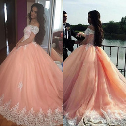 latest yellow beads Canada - 2019 Latest Short Sleeves Quinceanera Dresses Satin Appliques Lace Up Back Ball Gown Prom Dresses Sweet 16 Quinceanera Gowns