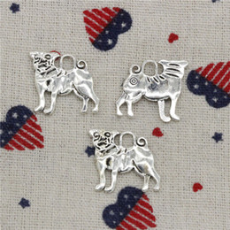 Dog Charms Australia - 119pcs Charms dog pug 20*22mm Pendant, Tibetan Silver Pendant,For DIY Necklace & Bracelets Jewelry Accessories