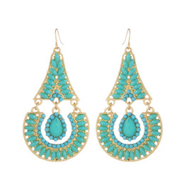 Blue copper turquoise earrings online shopping - European Baroque Palace Retro Luxurious Drilling Earrings with Turquoise Earrings