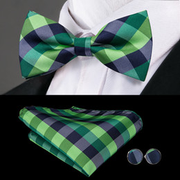 Purple Tie Sets For Men Australia - Hi-Tie New Style Wedding Ties for Men Green Floral Bow Tie Pocket Square Cufflinks Set High Quality Jacquard Woven Silk Bow Tie LH-792