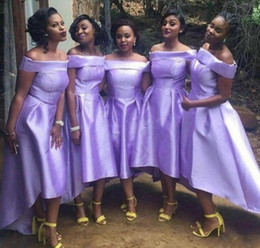 $enCountryForm.capitalKeyWord Canada - Lavender Tea Length High Low Bridesmaid Dresses Sexy Off Shoulders A Line Satin African Black Girls Wedding Guest Party Dress Custom Made