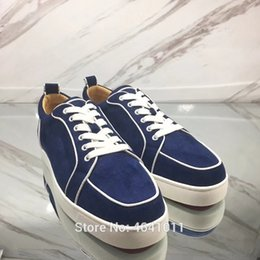 Lace-Up cl andgz patent leather red bottoms shoes low-Cut For Men Blue  denim none Rivet casual lovers Sneakers Flat Loafers bd11d74ef056