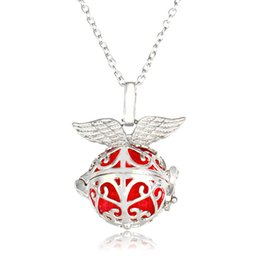 Hollow angel pendants online shopping - Angel Wing Aroma Balls Necklace Hollow Flower Pattern Essential Oil Diffuser Locket Pendant Necklaces Valentine s Day Gift for Women B442Q F