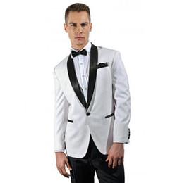 Dark Green Tie Grey Suit Australia - High qulity Groom Fashion Men Custom made White Shawl lapel Groom tuxedos groomsmen Wedding suits( jacket+Pants+tie)