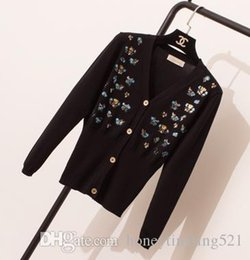 computer embroidery designs Australia - New design women's autumn v-neck long sleeve embroidery paillette sequined sexy bodycon knitted sweater cardigan coat casacos