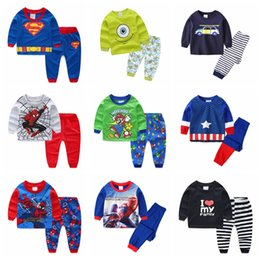Cartoon sleep girl online shopping - Cotton Pajamas Children long sleeves kids sets clothes for girl baby underwear cartoon sleep pants cheap and free delivery P108