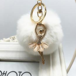 $enCountryForm.capitalKeyWord Australia - New 2016 rabbit fur ball keychain Bag Pendant Fur Ball Plush Ballet Girl Key chain Metal Key Holder Rabbit