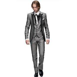 China New Style Slim Fit Groom Tuxedos Light Grey Best man Peak Black Lapel Groomsman Men Wedding Suits Bridegroom (Jacket+Pants+Tie+Vest) J296 cheap groom tuxedo long jacket styles suppliers