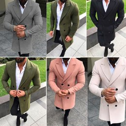 Men Vintage Trench Coat Double Breasted Pea Winter Jacket Overcoat Tops M-3XL on Sale