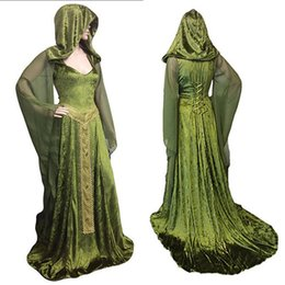 Medieval Dress Wedding UK - Adult Women Medieval Hooded Costume Renaissance Maxi Dress Pagan Witch Wedding Costume Dryad Hooded Gilr Cosplay Gown Party Robe