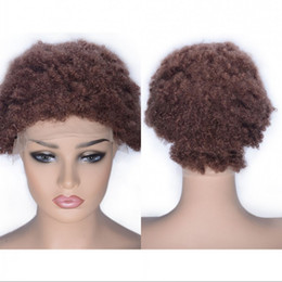 $enCountryForm.capitalKeyWord Australia - Human Hair Lace Front Wig Kinky Curly Pre Plucked Hairline 33# Mongolian Human Hair Wig Medium Size Cap