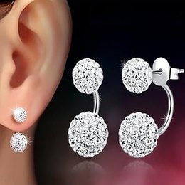 Wholesale High quality Double sided Ball Stud Earrings Diamond Crystal disco beads Earings Silver plated fine Jewelry for women girls