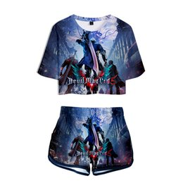$enCountryForm.capitalKeyWord UK - Hot Game Devil May Cry 5 Women Summer Two Piece Sets Short Sleeve Crop Tops+Shorts DMC Nero&Dante 3D Printed Girls Sexy Clothes