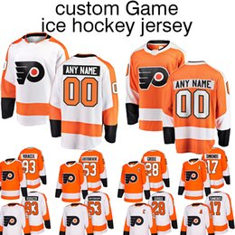 Customized Hockey Flyers jerseys 9 Ivan Provorov 17 Wayne Simmonds 28  Claude Giroux 19 Nolan Patrick ice hockey jersey shirt Long sleeves a5ddb0436
