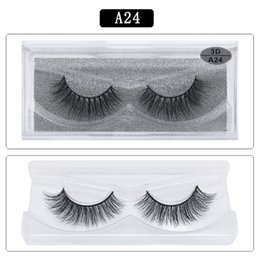 False Eyelashes Feathers Australia - DHL free shipping A series A24 3D Real mink Eye Lashes Thick false Eyelashes a pair of false eyelashes with Crystal box