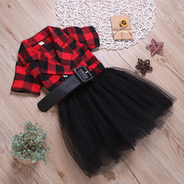 BaBy princess gowns online shopping - in stock Lace short sleeve casual Dresses baby children available Girl plaid princess Dress Party Clothing wear