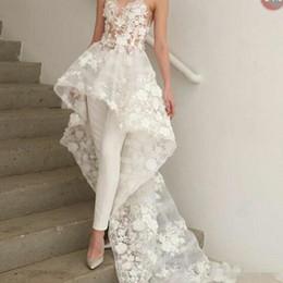 Training Jumpsuits Australia - Sexy New Bohemian White Jumpsuits Wedding Dresses Long Train 2019 Zuhair Murad Sweetheart Lace 3D Floral Appliques Bridal Gown