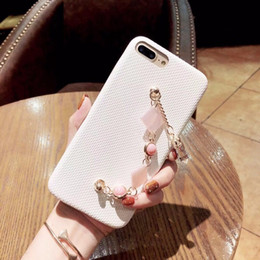 Iphone Cases White Australia - Mytoto Squishy Pink White Fabric Phone Cases with Metallic Marble Chain Wrist Strap Phone Covers for iPhone 6s 7 8 Plus X Cases