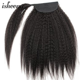 white brazilian hair 2019 - Isheeny Kinky Straight Brazilian Remy Human Hair Drawstring Clip in Ponytail Hair Extensions Natural Black Ponytail For