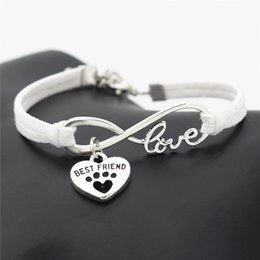 Wholesale Gifts For Pets Australia - Newest Fashion White Leather Suede Bracelets for Women Men Handmade Braided Infinity Love Pets Dog Paw Best Friend Heart Charm Jewelry Gifts