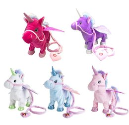 blue unicorn toy UK - Magic Electric Walking Unicorn Plush Toy Stuffed Animal Toy Electronic Music Unicorn Toy For Children Christmas Gifts