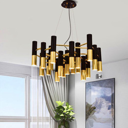 tube light e27 NZ - black and gold metal aluminum tube chandelier lamp Italy modern design suspension light for dinning restaurant