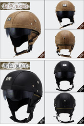 Vespa Half Helmets Australia - HOT Motorcycle Motorbike Rider Half Open Face PU Leather Helmet Visor With Collar Leather vintage Motorcycle Motorbike Vespa