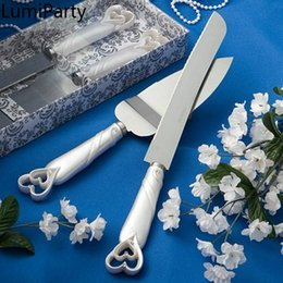 wholesale butterfly knives Australia - Decoration Stainless Steel Wedding Cake Knife and Server Set with Butterfly and Heart Handle Party Decoration-25