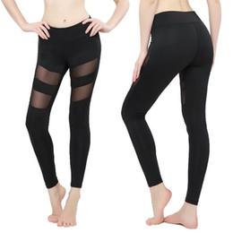 striped yoga pants 2019 - Womens Leggings Autumn Spring Fitness Plus Size Sports Yoga Pants Sexy Hollow Leggings Tight Trousers Mesh Size S-3XL di