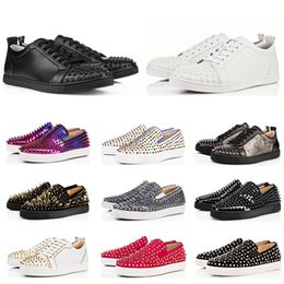 Glitter red bottoms online shopping - ACE Designer fashion luxury Red Bottom Studded Spikes Flats shoes For Men Women glitter Party Lovers Genuine Leather casual Sneakers