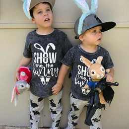 $enCountryForm.capitalKeyWord Australia - 2019 Summer New Hot Cute Kid Baby Boy Easter Cotton Clothes T-Shirt Tops+Long Leggings Outfit Set