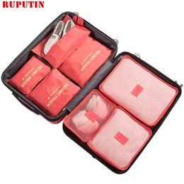 Cloth Cubes Australia - RUPUTIN New 7PCS Set High Quality Oxford Cloth Ms Travel Mesh Bag In Bag Luggage Organizer Packing Cube Organiser For Clothing