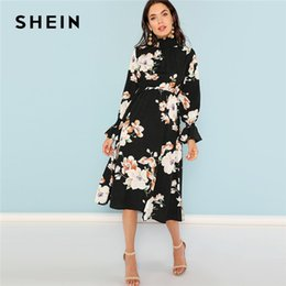 9125c86e04 Shein Dresses NZ - Shein Black Print Mock Neck Pleated Panel Floral Dress  Elegant Ruffle Streetwear