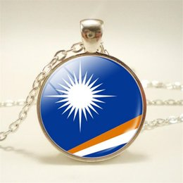 Necklaces Pendants Australia - New Bijoux Time Gem Glass Cabochon Marshall Islands National Flag World Cup Football Fan Chain Pendant Necklace for Women Men Choker Jewelry