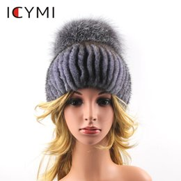 f74117dd56c ICYMI Women Real Beanies for Winter Newest 2018 Hat With Luxury Pompom Fox  Fur Cap Hats Elastic Knit Hat Female Fur