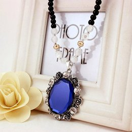 Blue Gemstone Pendant Wholesale Australia - Pastoral Style Crystal Imitation Gemstone Pendant Necklace - Rurality Blue Womens Long Necklaces Jewelry Sweater Chain