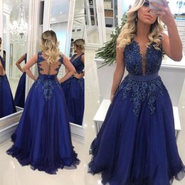 Fashion design major online shopping - 2019 New Design Royal Blue Long Evening Dresses Sheer Neck Lace Appliqued Beaded Pearls Tulle Prom Dress Sexy Illusion Back BC0593