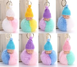 baby sleeping bag hats NZ - High quality Fluffy Sleeping Baby Doll 8cm Knit Hat Keychain Faux Rabbit Fur Bag Pom Pom Hat Key Ring Soft Pendant