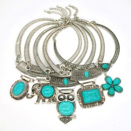 $enCountryForm.capitalKeyWord Australia - necklaces for women Yumfeel Vintage Tibetan Silver Plated Synthetic Blue Stone Owl Elephant Flower Pendants Choker Necklace for Woman