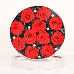Lovers Gift Flower UK - Manufacturers eternal rose preserved flowers 11 pieces packaging in a round cortical box as a gift for your lover