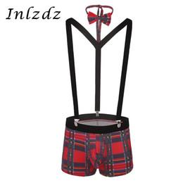 Mens y back clip suspenders online shopping - 3Pcs Mens Lingerie Suit Plaid Bulge Pouch Boxer Briefs with Y Back Elastic Strong Clip Suspenders and Bowtie Set Gay Underwear