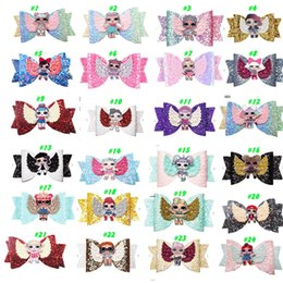 $enCountryForm.capitalKeyWord Australia - 24 Style LOLS urprise Girls Hairpin Baby Sequin Glitter Bow Clips Girls Bowknot Barette Kids Hair Boutique Bows Children Hair Accessories