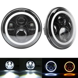 Halo Lights Australia - 7inch Round Led Headlight High Low Beam Light Halo Angle Eyes Headlamp 30W For Jeep Wrangler Off Road 4x4 Motorcycle