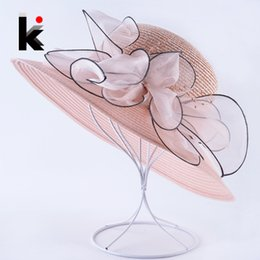 $enCountryForm.capitalKeyWord Australia - Summer Wide Brim Sun Hats For Women Organza Flower Straw Cap Lady Sun Protection Bucket Chapeau Female Vacation Beach Floppy Hat