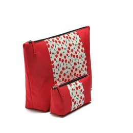 Beautiful Cosmetic Bags Australia - Cherry cosmetic bag Wholesale beautiful lady cherry printing cosmetic Travel bag set fashion red fruit pattern Women makeup bag
